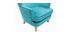 Fauteuil classique velours bleu azur CEZANNE