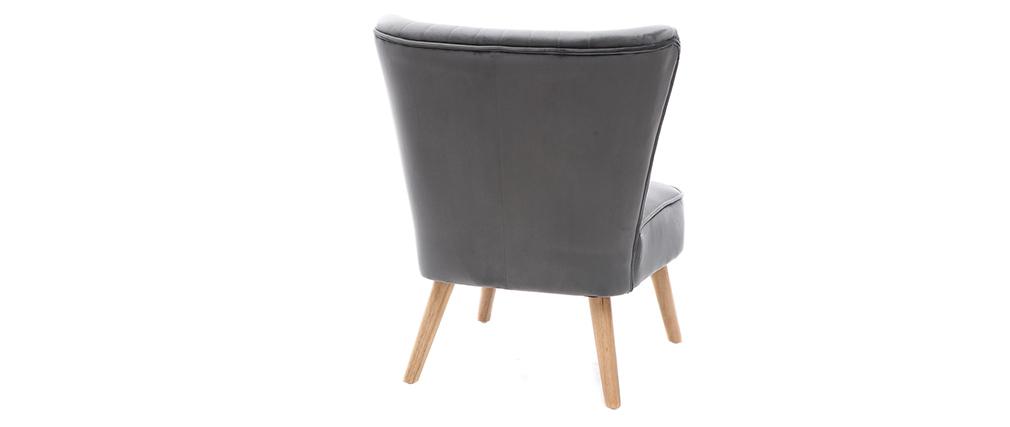 Fauteuil classique velours gris foncé ZOLA
