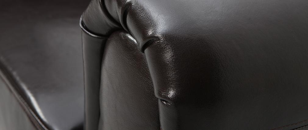 Fauteuil Club cuir marron foncé - cuir de vachette
