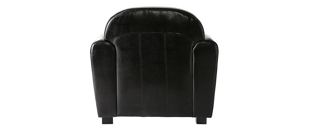 Fauteuil Club cuir noir - cuir de vachette
