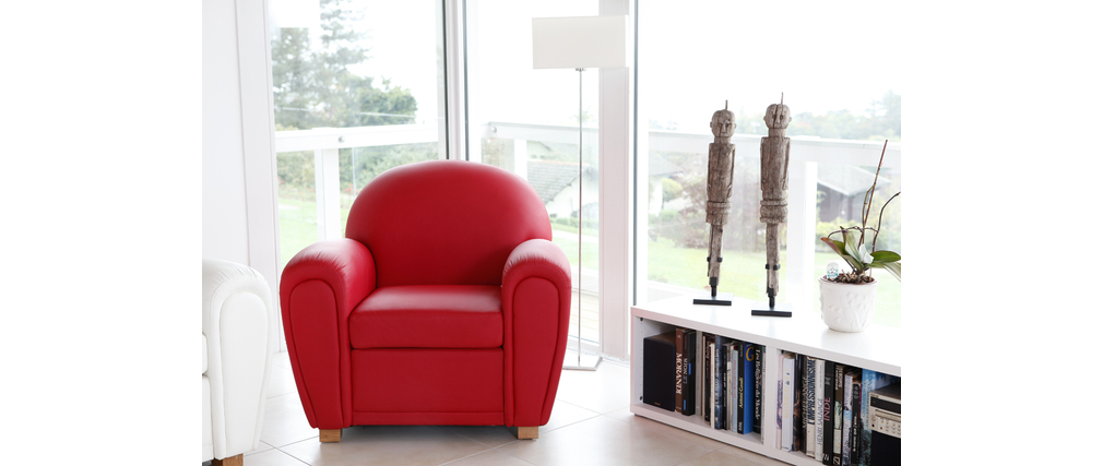 Fauteuil Club cuir rouge NEW CLUB