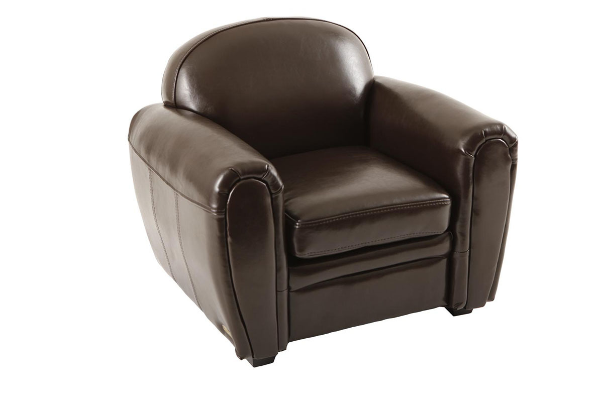 fauteuil club enfant en cuir marron baby club. Black Bedroom Furniture Sets. Home Design Ideas