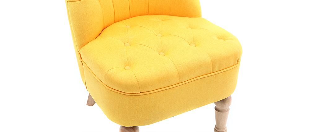 Fauteuil crapaud classique tissu jaune ODEON