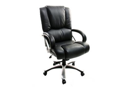 Fauteuil de bureau cuir noir confort XL TITUS - cuir de vache