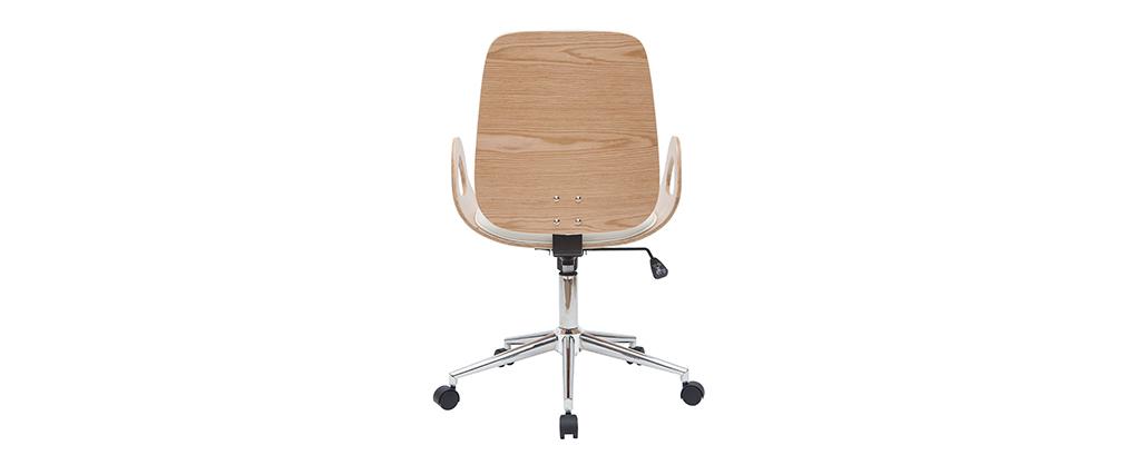 Fauteuil de bureau design blanc et bois clair GLORY
