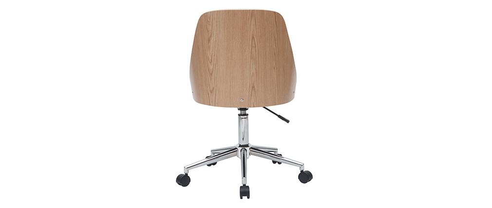 Fauteuil de bureau design blanc et bois clair QUINO
