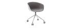 Fauteuil de bureau design blanc et tissu gris clair SCAFO