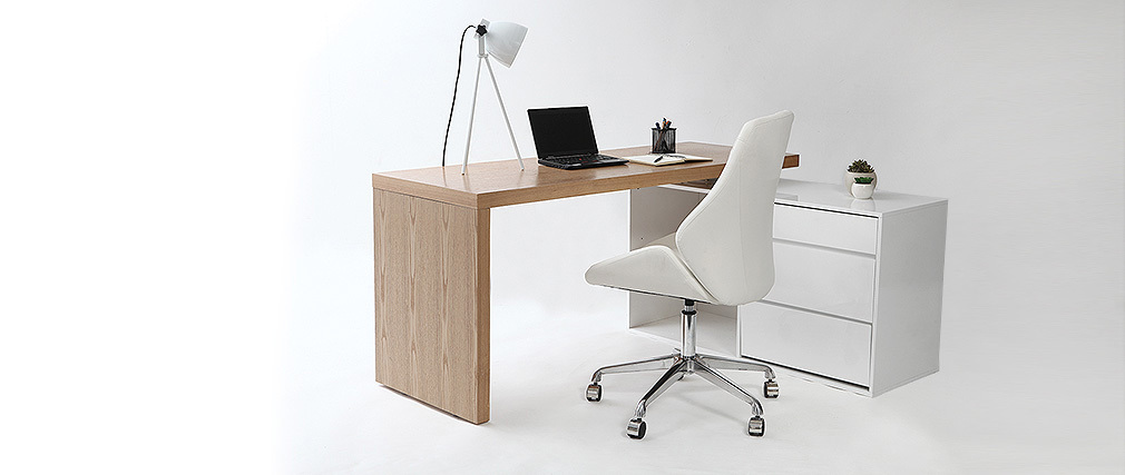 Fauteuil de bureau design blanc guido miliboo for Fauteuils de bureau design