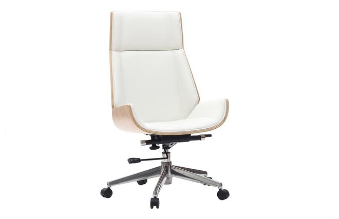 Fauteuil de bureau design bois clair et blanc curved miliboo