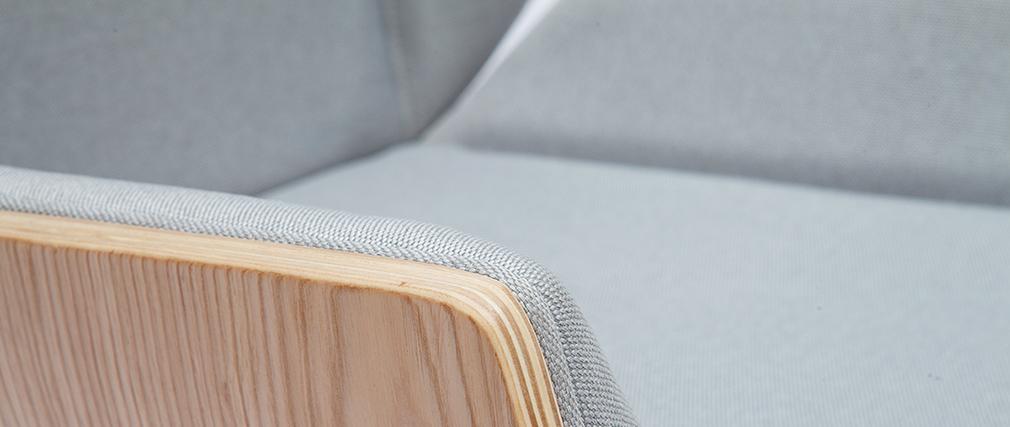 Fauteuil de bureau design bois clair et gris CURVED