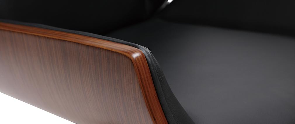 Fauteuil de bureau design bois foncé et noir CURVED