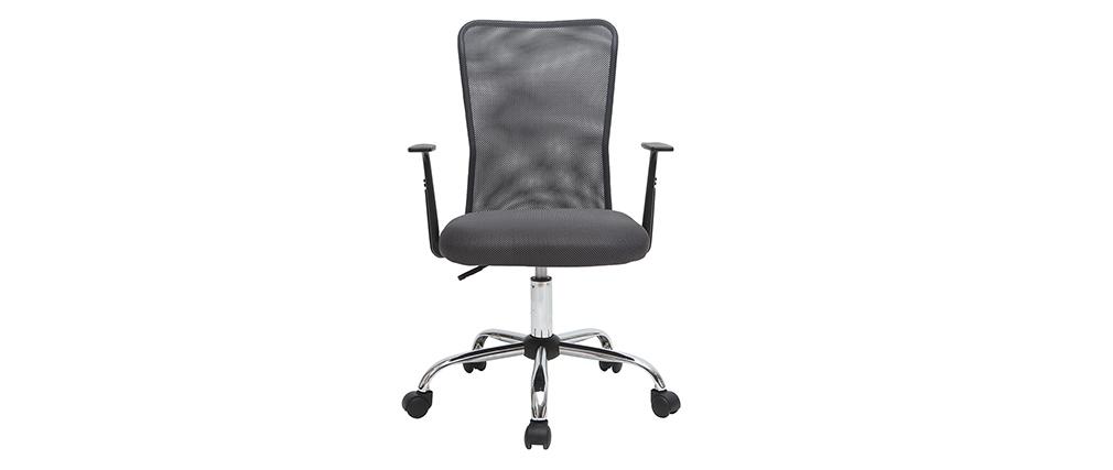 Fauteuil de bureau design en mesh gris PLUZ