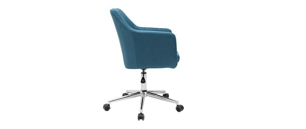 Fauteuil de bureau design en tissu bleu canard ALEYNA - Miliboo & Stéphane Plaza