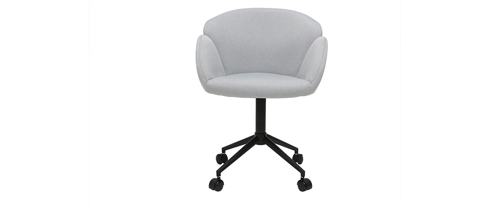 Fauteuil de bureau design en tissu gris clair RHAPSODY - Miliboo & Stéphane Plaza