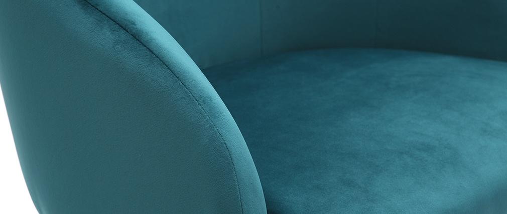 Fauteuil de bureau design en velours bleu pétrole SCARLETT