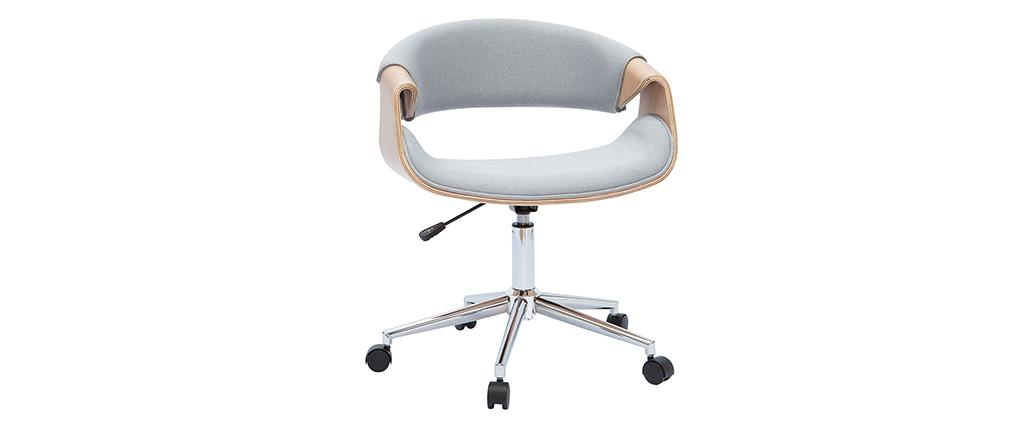Fauteuil de bureau design gris et bois clair ARAMIS
