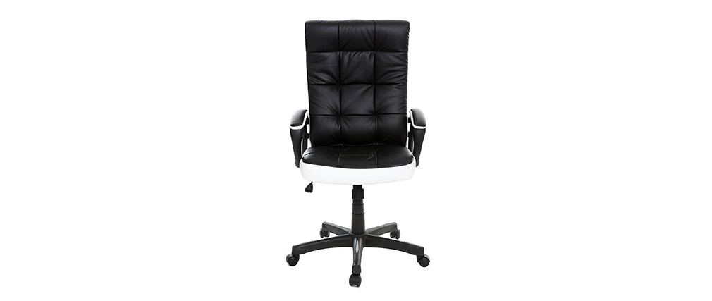 fauteuil de bureau design noir et blanc lorenzo miliboo. Black Bedroom Furniture Sets. Home Design Ideas
