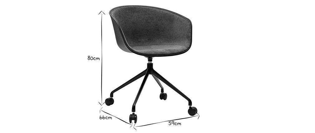 Fauteuil de bureau design noir et tissu gris foncé SCAFO
