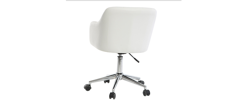 Fauteuil de bureau design PU blanc BALTIK