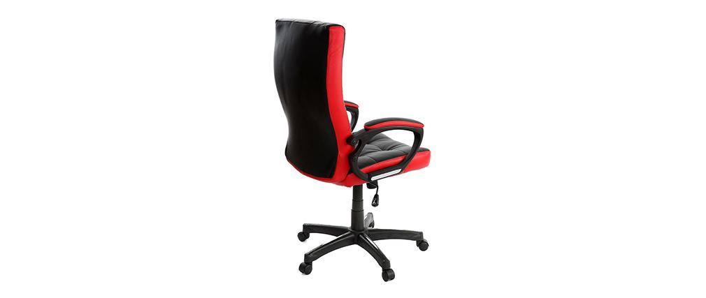 Fauteuil de bureau design rouge et noir LORENZO