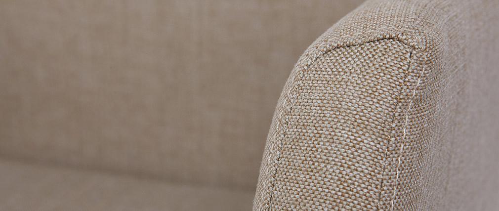Fauteuil de bureau design tissu crème ARIEL