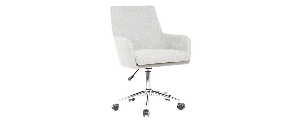 Fauteuil de bureau design tissu gris clair SHANA