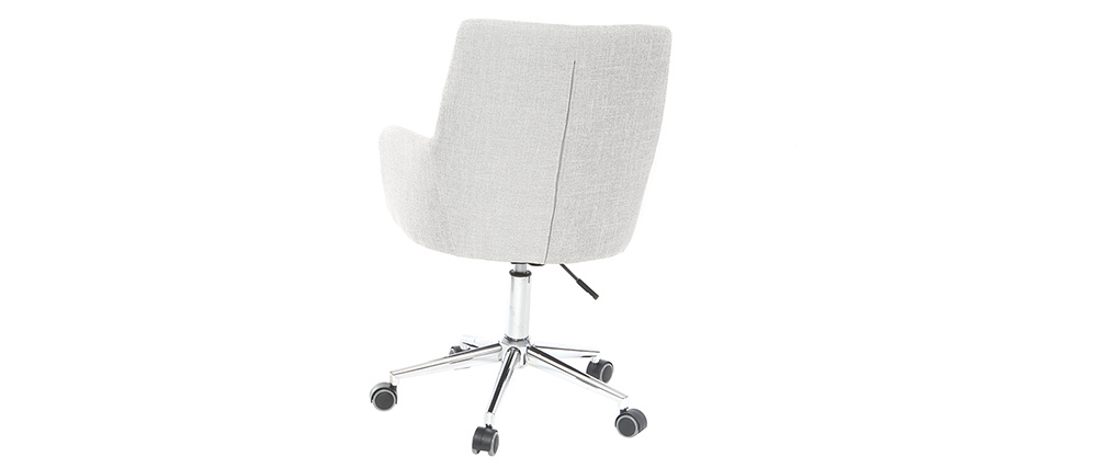 Fauteuil de bureau design tissu gris polaire SHANA