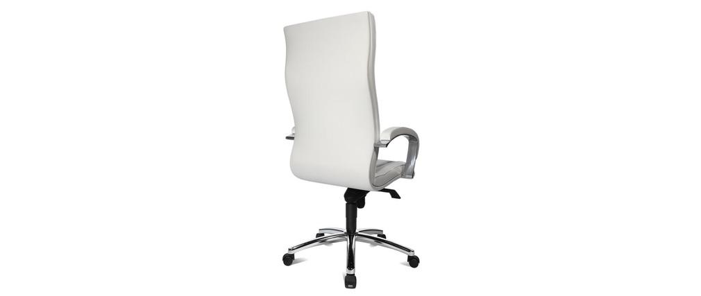 fauteuil de bureau en cuir blanc miro miliboo. Black Bedroom Furniture Sets. Home Design Ideas