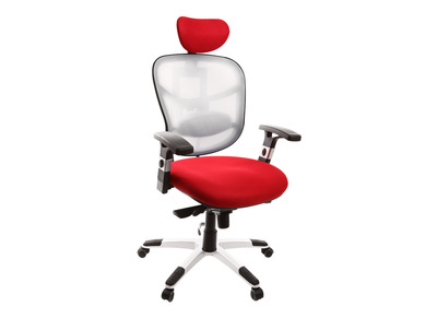 Fauteuil de bureau ergonomique blanc et rouge UP TO YOU