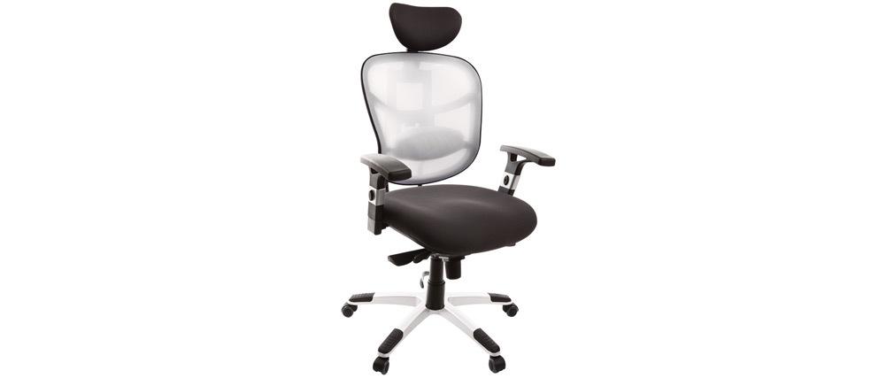 Fauteuil de bureau ergonomique gris anthracite et blanc UP TO YOU