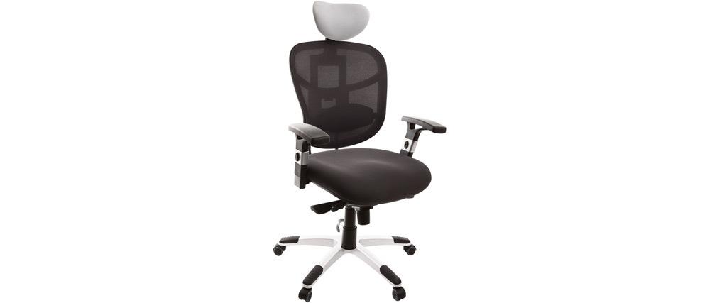 Fauteuil de bureau ergonomique noir avec appuie-tête blanc UP TO YOU