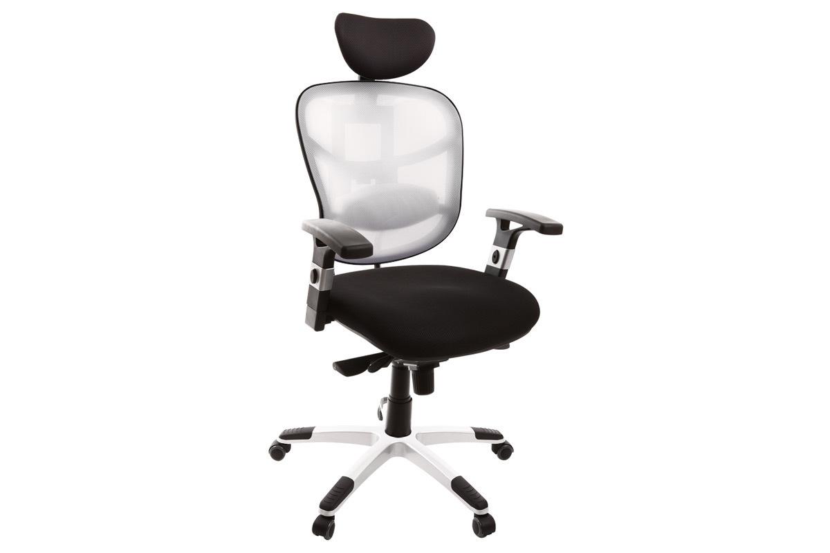 Fauteuil de bureau ergonomique noir avec dossier blanc et pieds nylon UP TO YOU