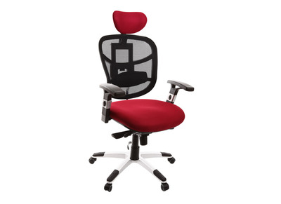 Fauteuil de bureau ergonomique noir et rouge option porte-manteau UP TO YOU