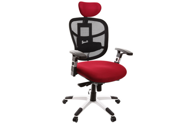 Fauteuil de bureau ergonomique noir et rouge option porte manteau