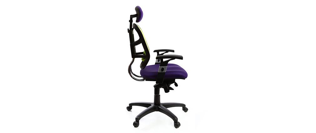 Fauteuil de bureau ergonomique violet et anis UP TO YOU