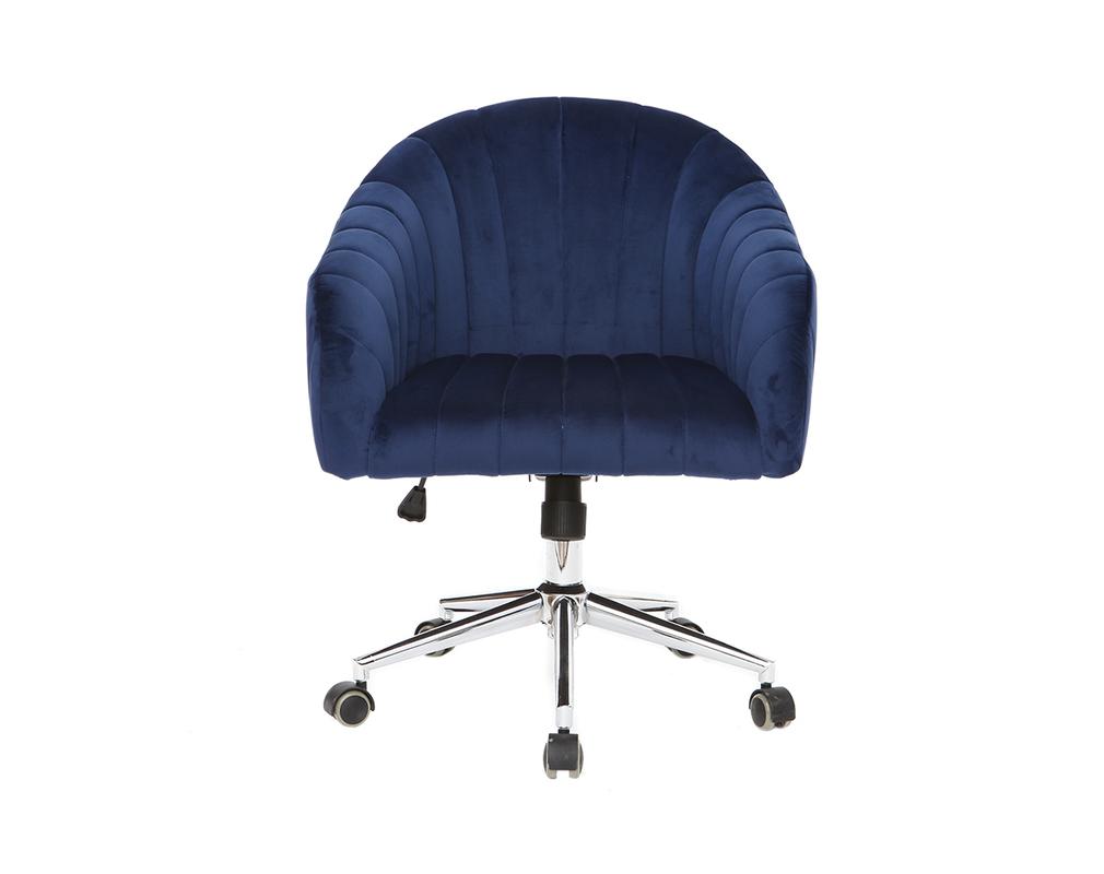 Fauteuil de bureau velours bleu foncé ROMI - Miliboo