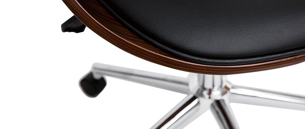 Fauteuil de bureau vintage noir et bois foncé GLORY