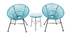 Fauteuil de jardin design en fils de résine turquoise ARANGO