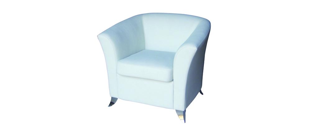 Fauteuil de salon contemporain micah blanc miliboo for Salon contemporain blanc