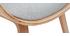 Fauteuil design avec repose-pieds tissu gris clair et bois VIVI
