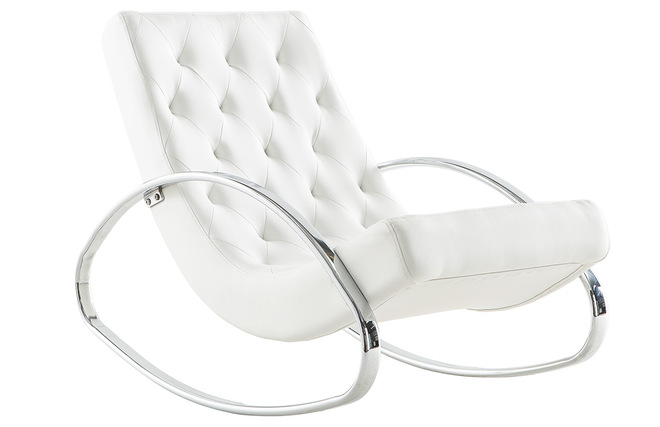 Fauteuil Design Blanc Rocking Chair CHESTY Miliboo - Fauteuil rocking chair design