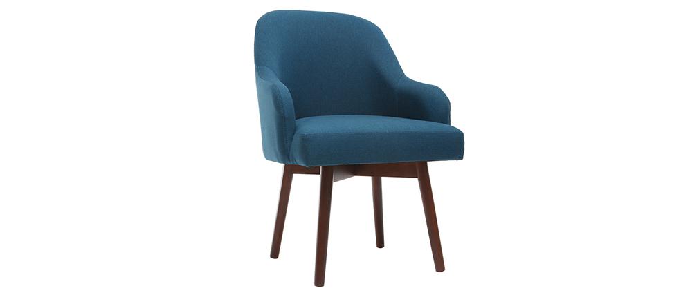 Fauteuil design bleu canard pieds bois foncé MONA