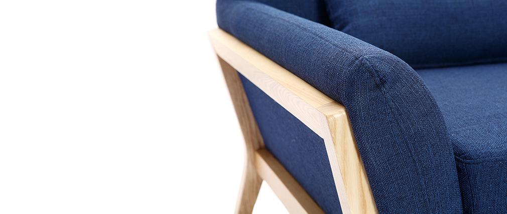 Fauteuil design bleu foncé pieds bois YOKO