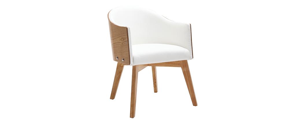 Fauteuil design bois clair et PU blanc NORDECO