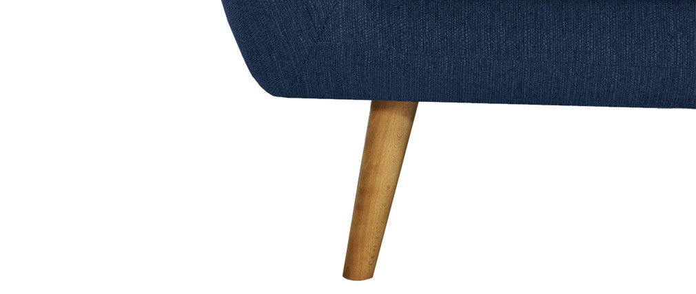 Fauteuil design bois clair et tissu bleu foncé OLAF