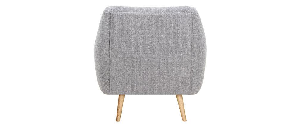 Fauteuil design bois clair et tissu gris clair OLAF