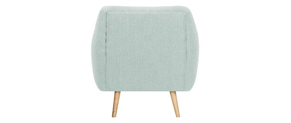 Fauteuil design bois clair et tissu vert menthe OLAF