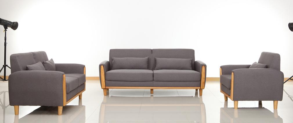Fauteuil Bois Design : Fauteuil design bois et tissu gris NORWAY, aspect technique :