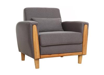 Fauteuil design bois et tissu gris NORWAY