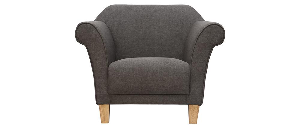 Fauteuil design classique gris clair MELI